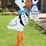 Blue Stork with Monogram -brecken